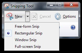 Snipping Tool - Selection modes