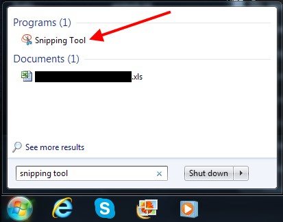 Find the Snipping Tool in the Start Menu