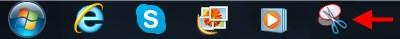 Snipping Tool shortcut on the Taskbar