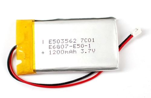 """LiPo"" battery. Note flexible casing, and the 3.7V rating"