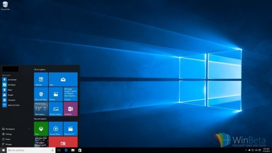 Desktop and Refined Start Menu in Windows 10