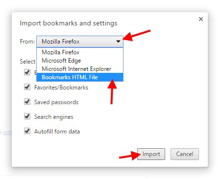 Chrome Import Bookmarks - Step 2