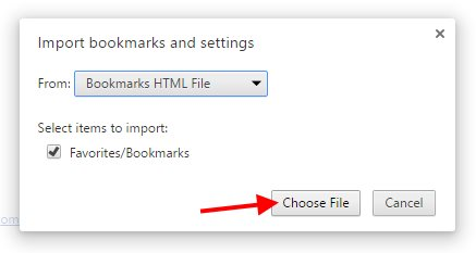 Chrome Import Bookmarks - Step 3