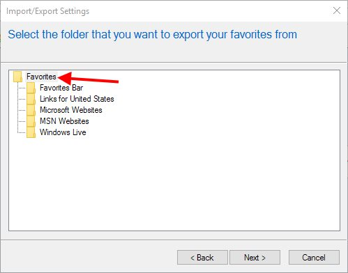 IE Export Bookmarks - Favorites Folder