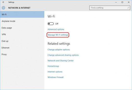 Settings - Wi-Fi