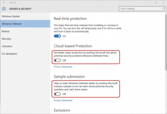 Settings - Windows Defender