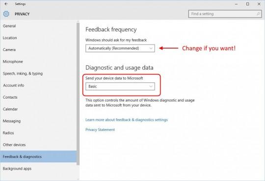 Settings - Feedback & diagnostics