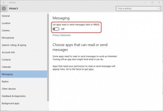 Settings - Messaging