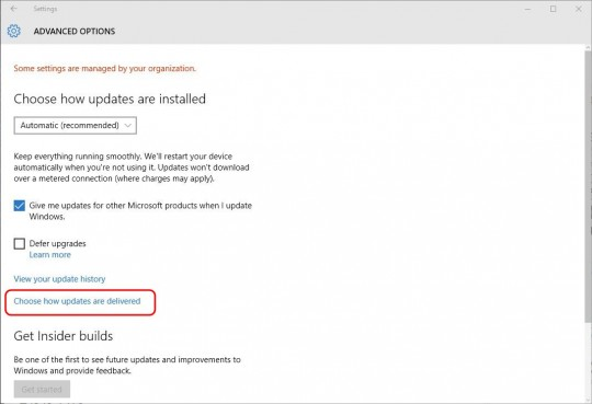 Settings - Updates - Choose how updates are delivered