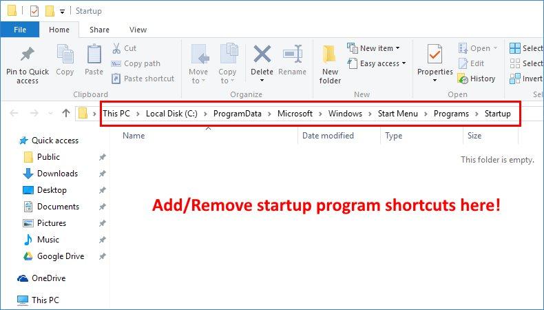 startup programs windows 10 folder