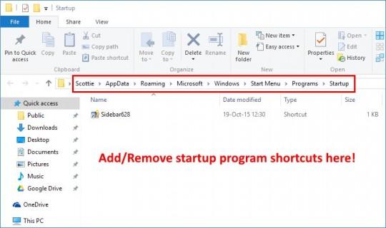 User's Startup Folder