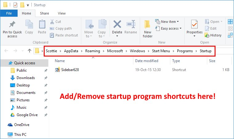 edit programs on startup