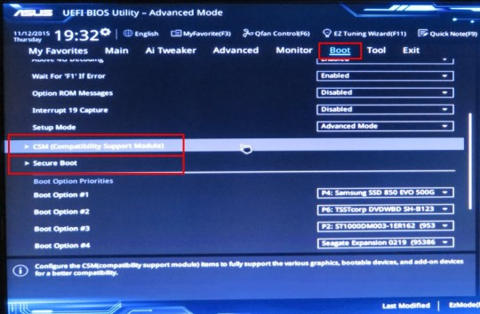 UEFI Boot Screen - scrolled down