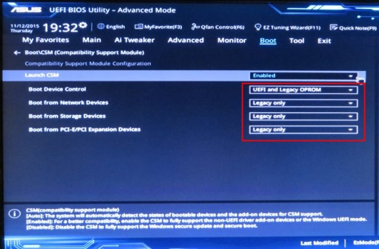 UEFI CSM Settings