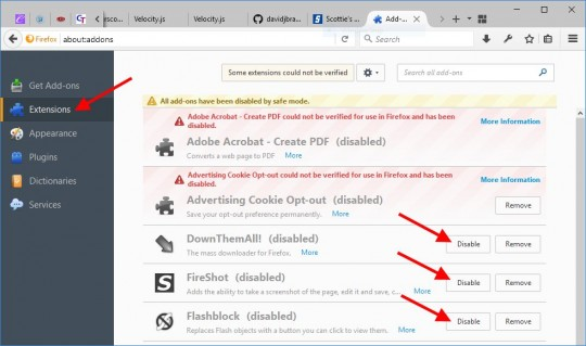 Firefox Disable each Add-on, one by one