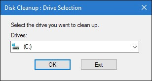 Disk Cleanup select drive