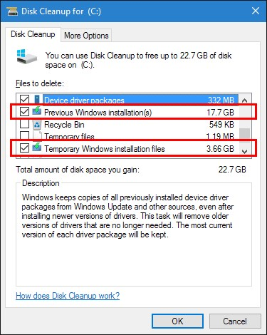 Disk Cleanup - Select stuff to clean!