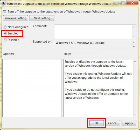 Disable GWX in Local Group Policy Editor