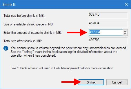 Shrink Volume window