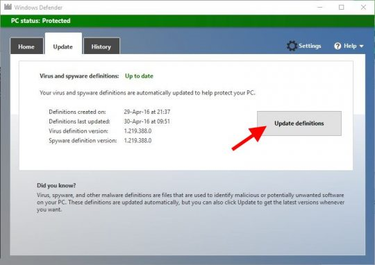 MS Security Essentials uninstall on Windows 10, Step 6