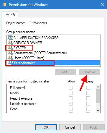 Windows Folder Permissions Remove