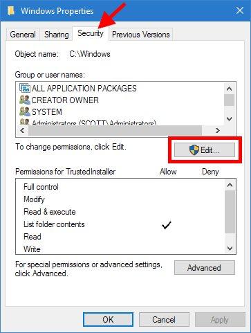 Windows Folder Security Properties