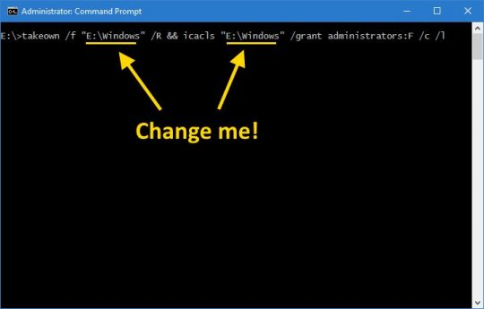 Command Prompt Take Ownership