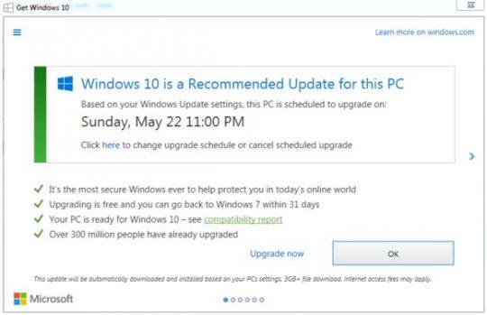 Windows 10 New Upgrade Prompt