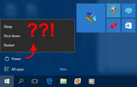 Windows 10 power button