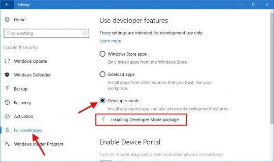 User developer features in Windows 10