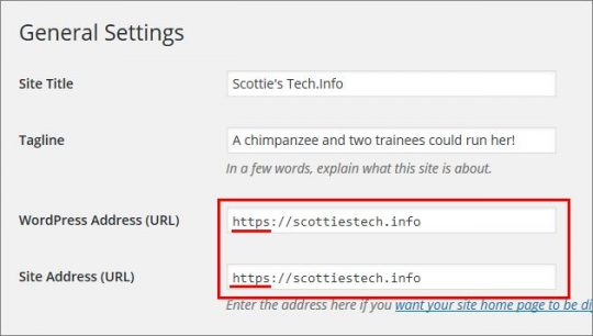 WordPress General Settings - Site Address