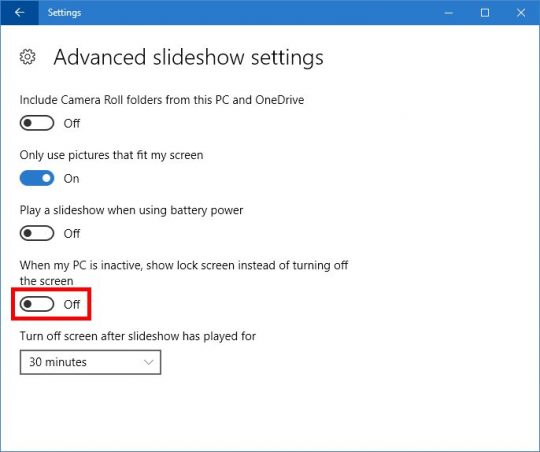 Slideshow advanced settings