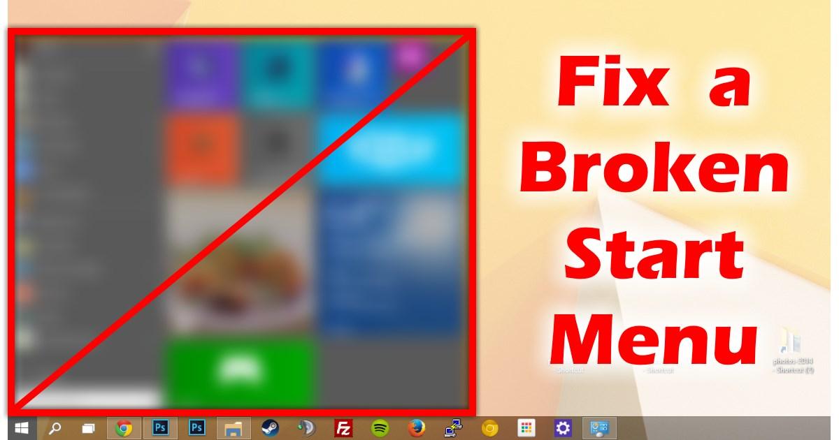 start menu not working after update