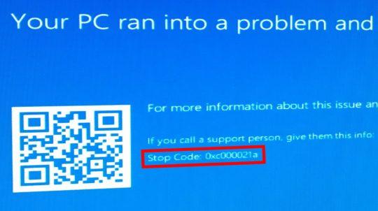 BSOD Stop Error 0xc000021a