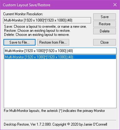 Desktop Restore Settings