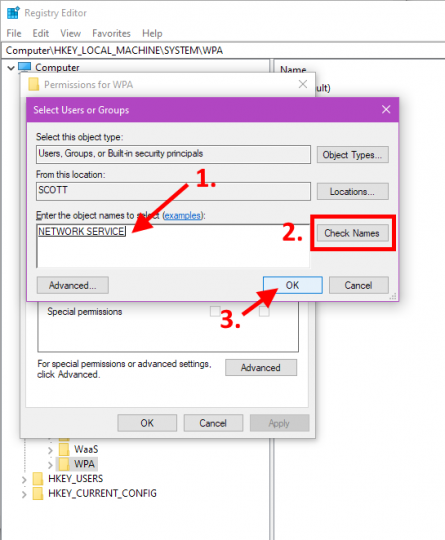 Permissions Add Network Service
