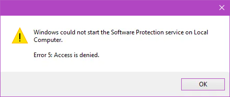 Software Protection Service Access Denied