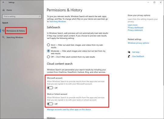 Search: Permissions - Cloud