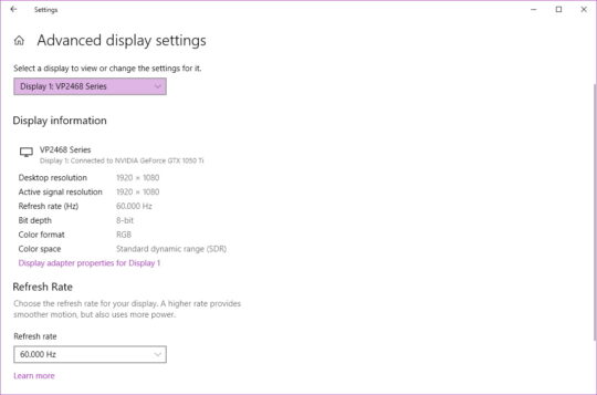 Win 10 20H2 - Settings -> Advanced display settings